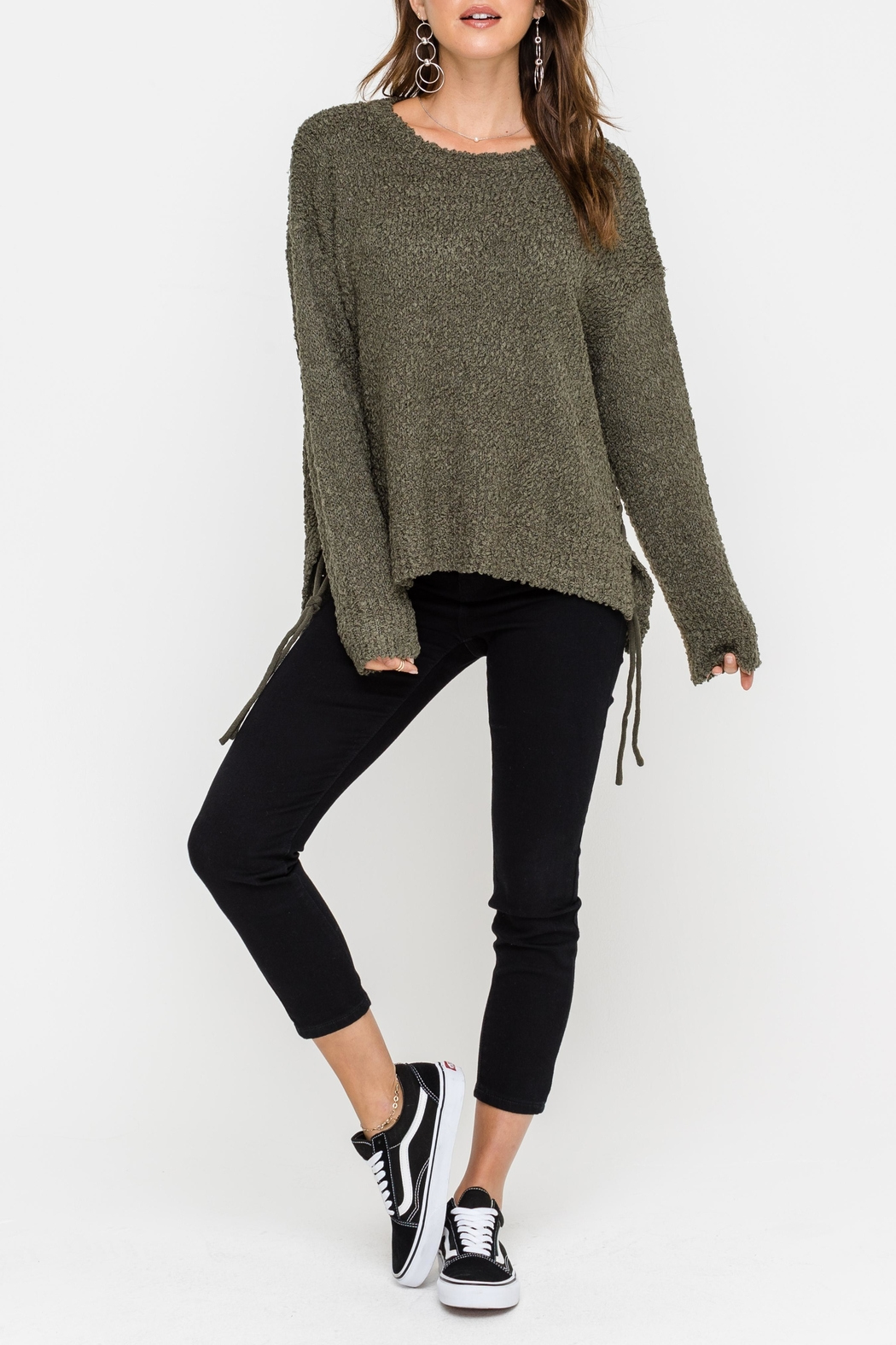 Lush Side Tie Sweater - Front Cropped Image