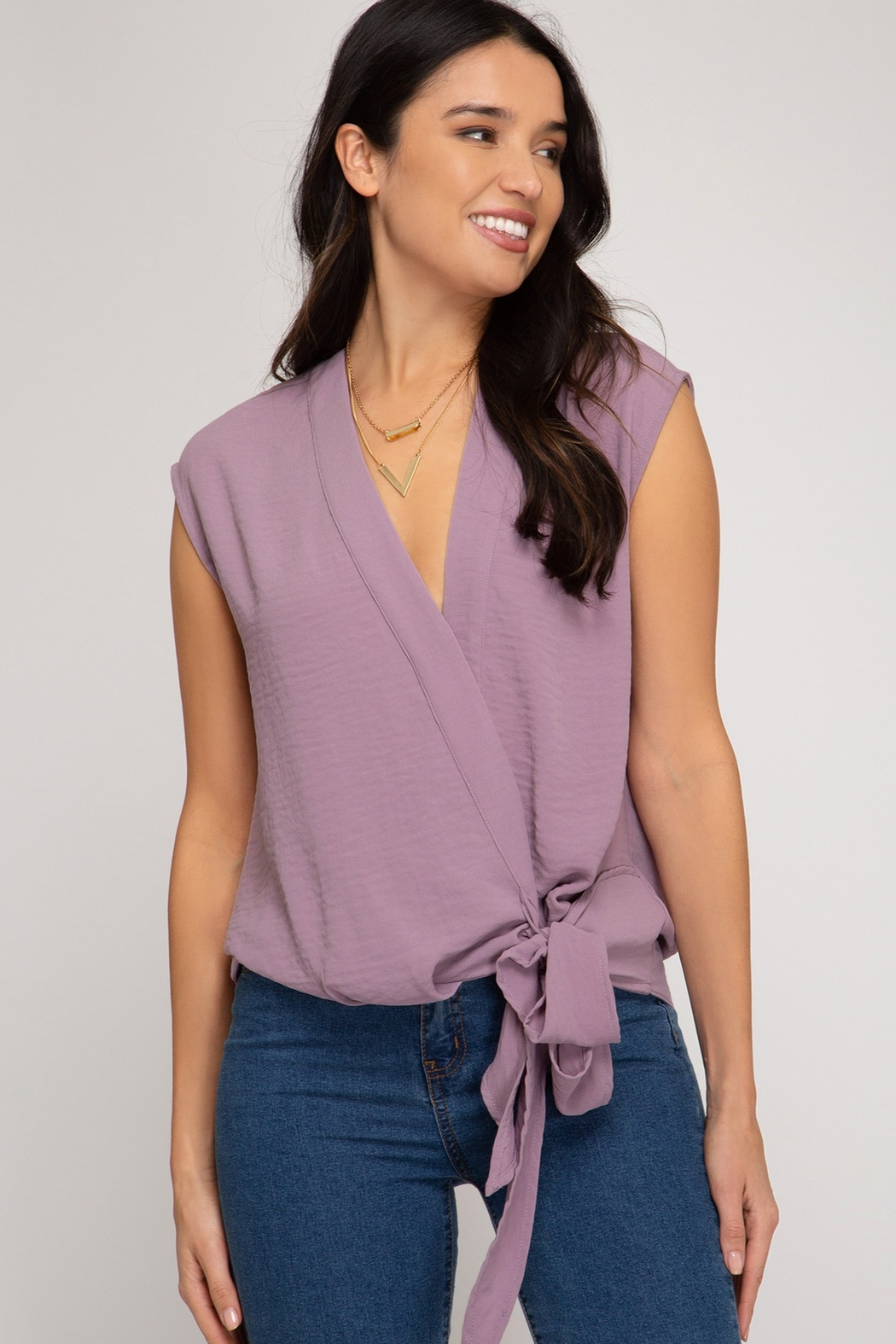 She + Sky Side Tie Tank - Front Cropped Image