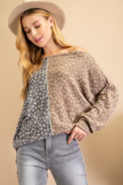 143 Story Side to Side Leopard Color Block Top - Product Mini Image