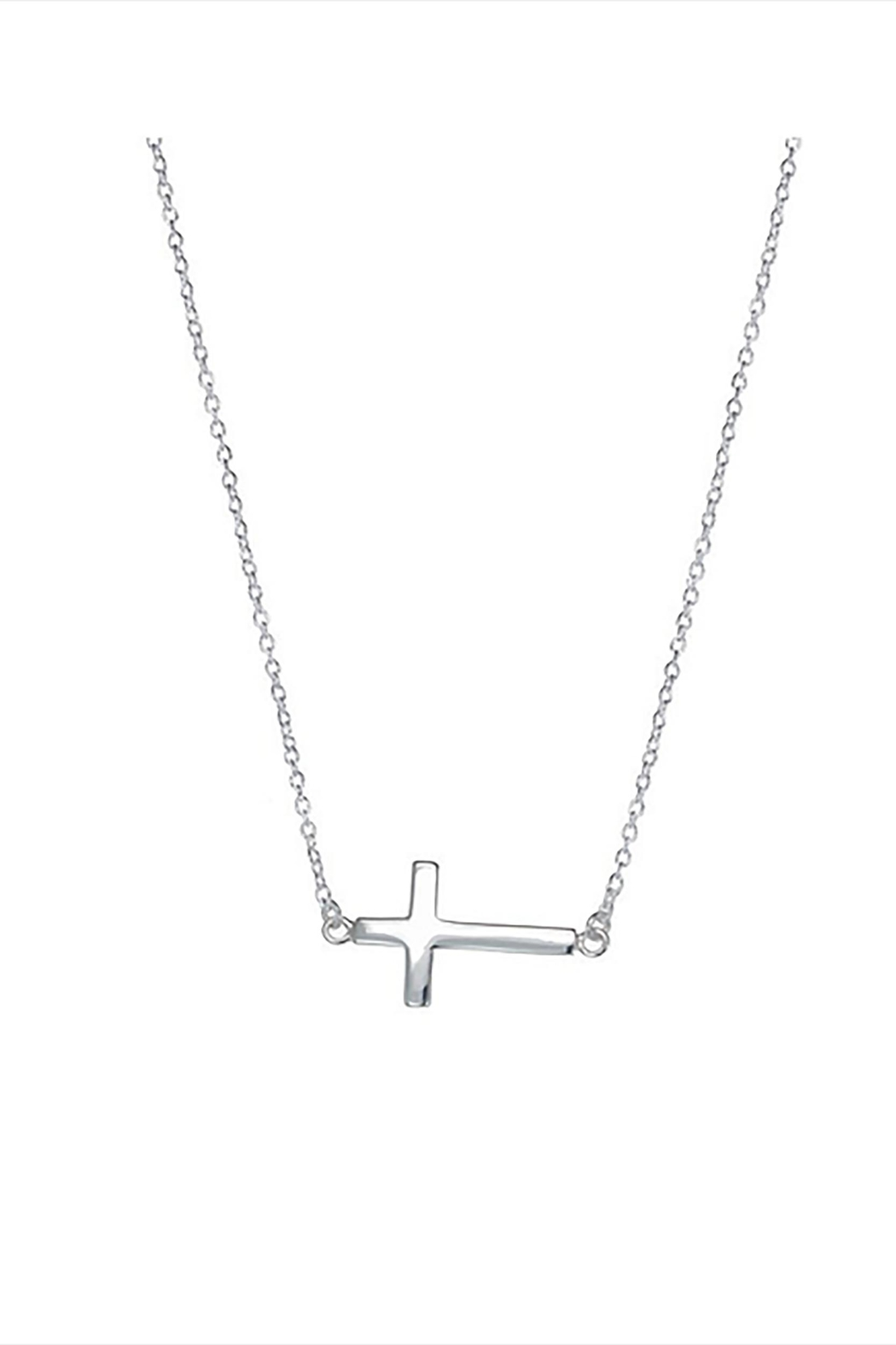 Lets Accessorize Sideways Cross Necklace - Front Cropped Image
