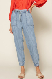 Skies Are Blue Sienna Chambray Jogger - Product Mini Image