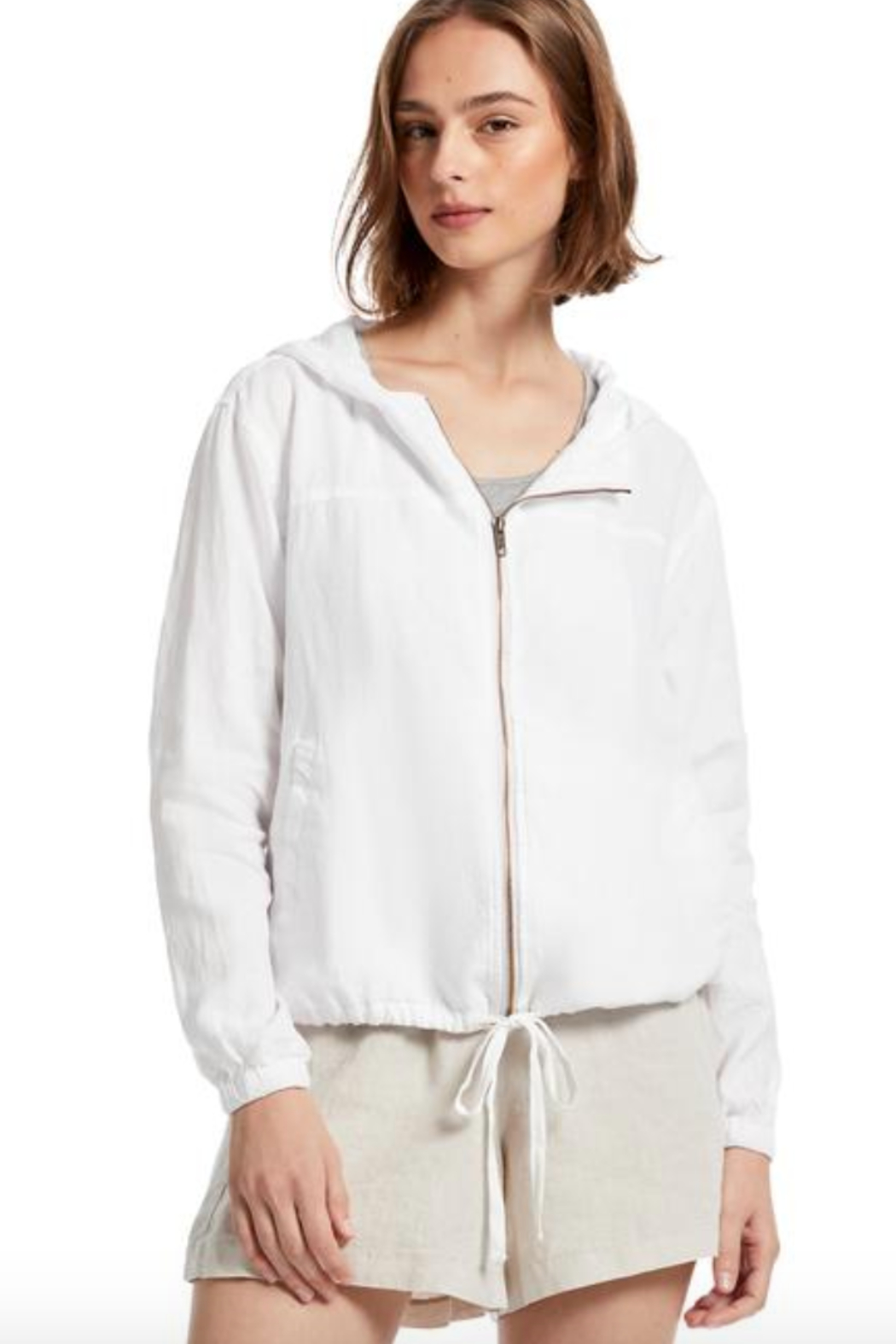 Michael Stars Sierra Hooded Drawstring Bomber - Front Cropped Image