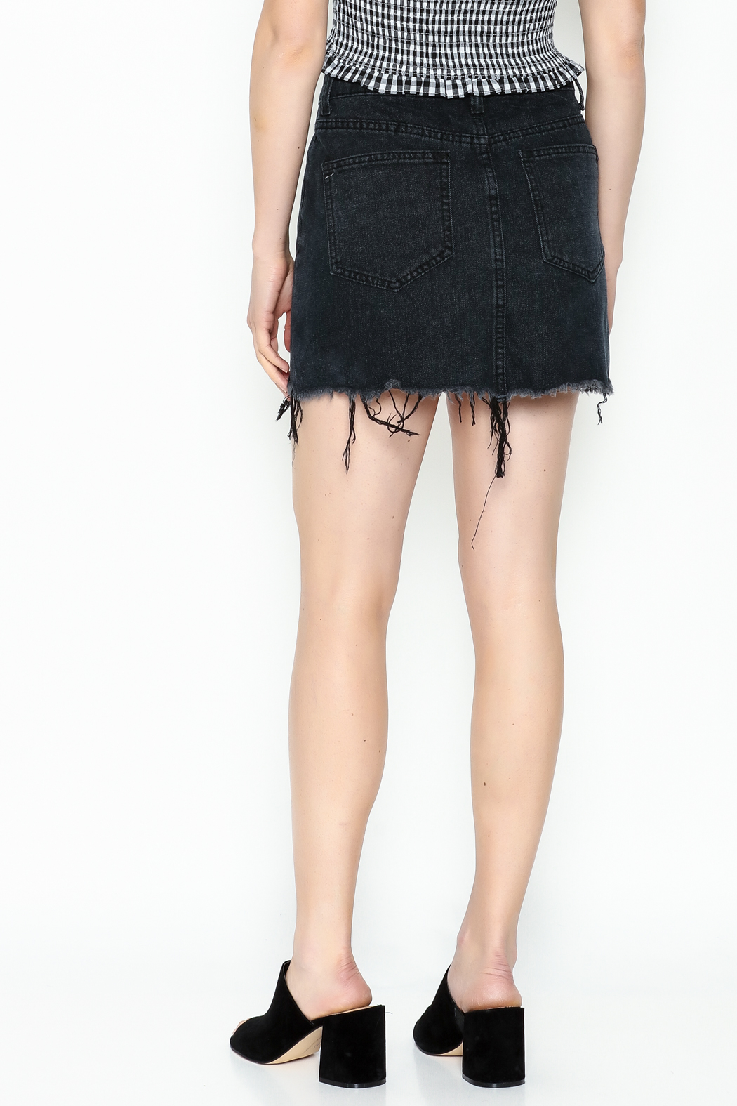Signature 8 Black Embroidered Skirt - Back Cropped Image