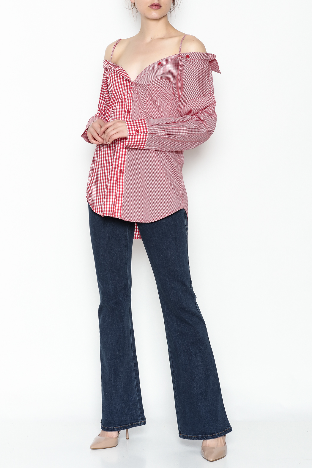 Signature 8 Checkered Button Down Top - Side Cropped Image
