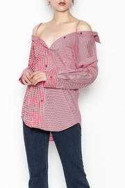 Signature 8 Checkered Button Down Top - Front cropped