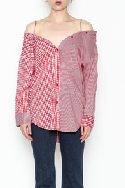 Signature 8 Checkered Button Down Top - Front full body