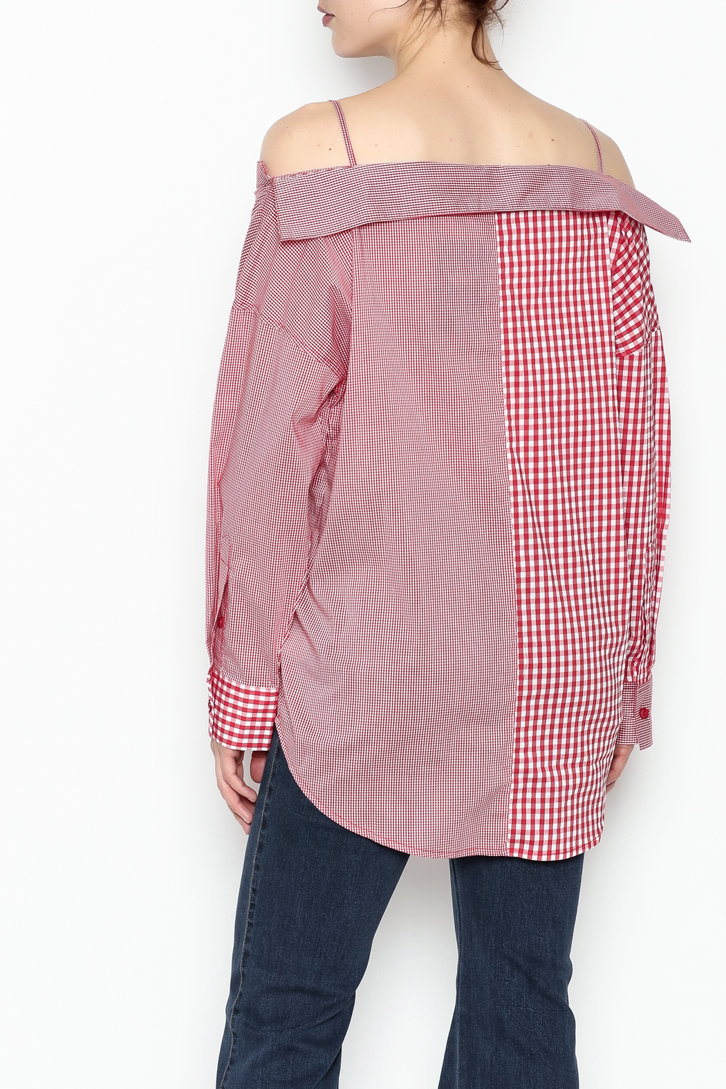 Signature 8 Checkered Button Down Top - Back Cropped Image