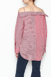 Signature 8 Checkered Button Down Top - Back cropped