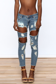 Signature 8 Distressed Skinny Jeans - Side cropped