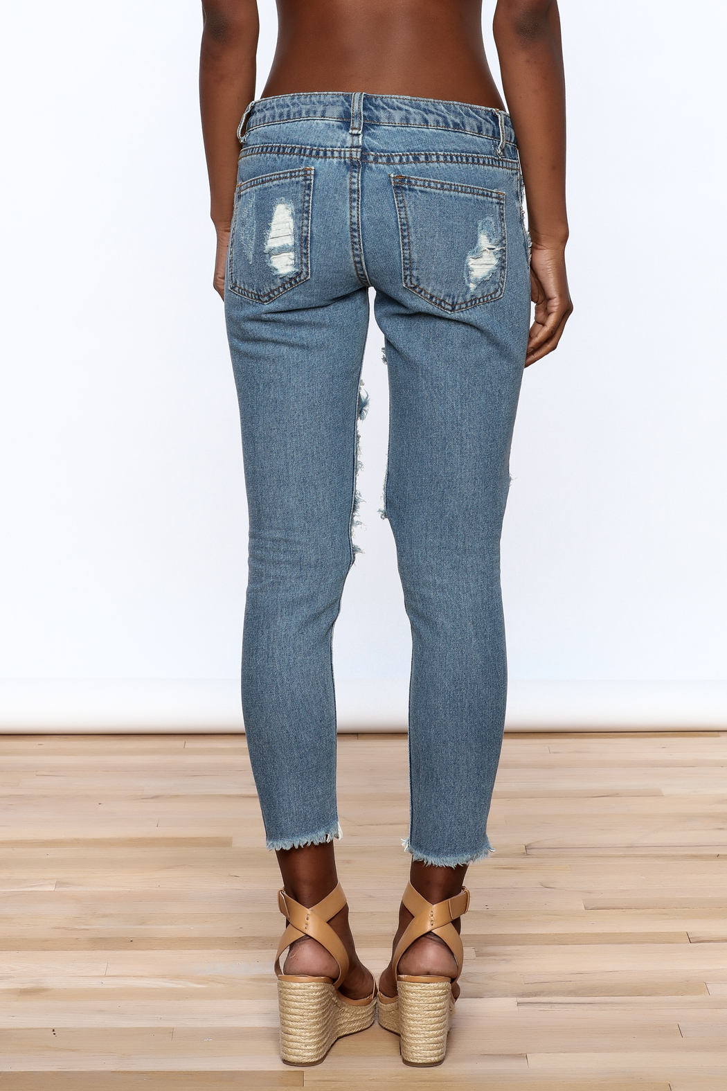 Signature 8 Distressed Skinny Jeans - Back Cropped Image