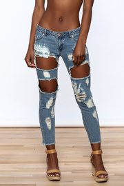 Signature 8 Distressed Skinny Jeans - Front cropped