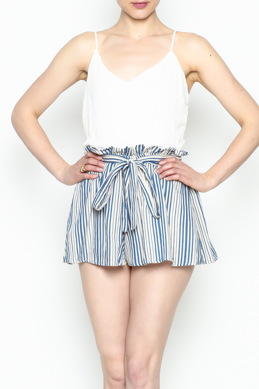 Signature 8 Pleated Tie Romper - Front Cropped Image