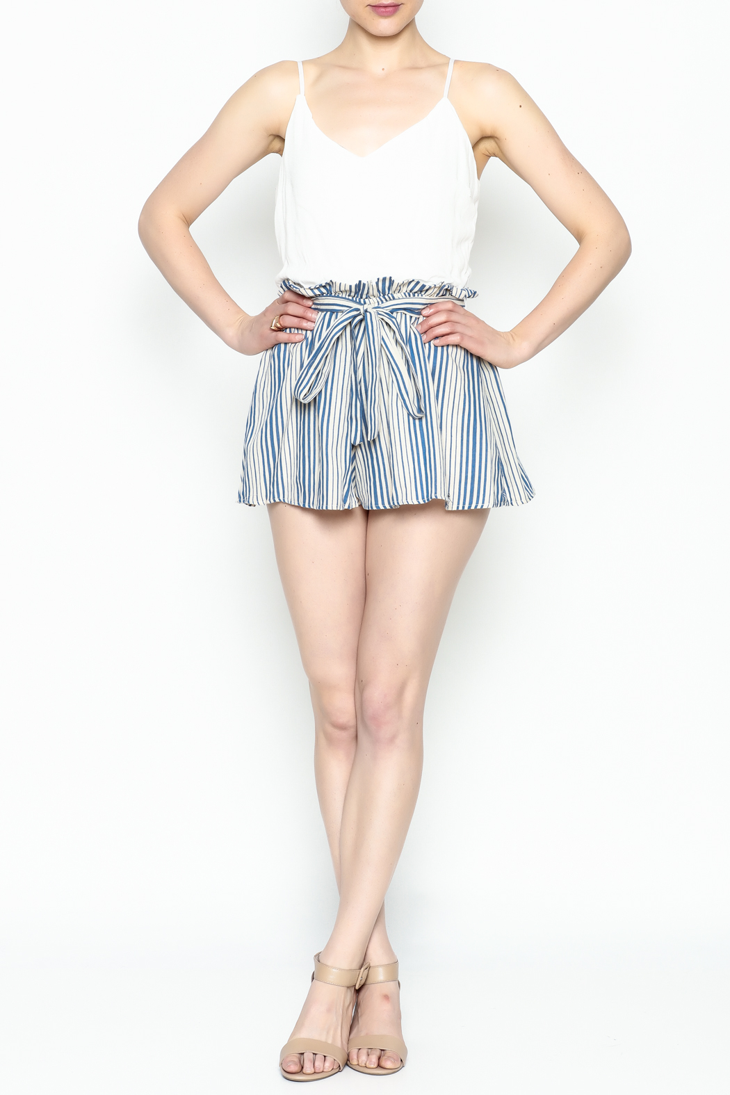 Signature 8 Pleated Tie Romper - Front Full Image