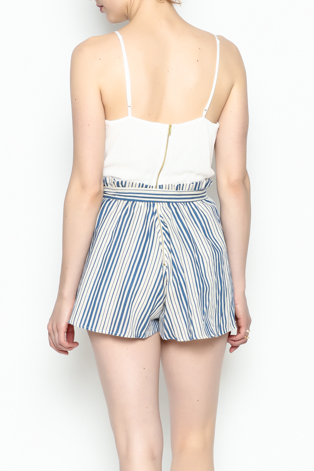 Signature 8 Pleated Tie Romper - Back Cropped Image