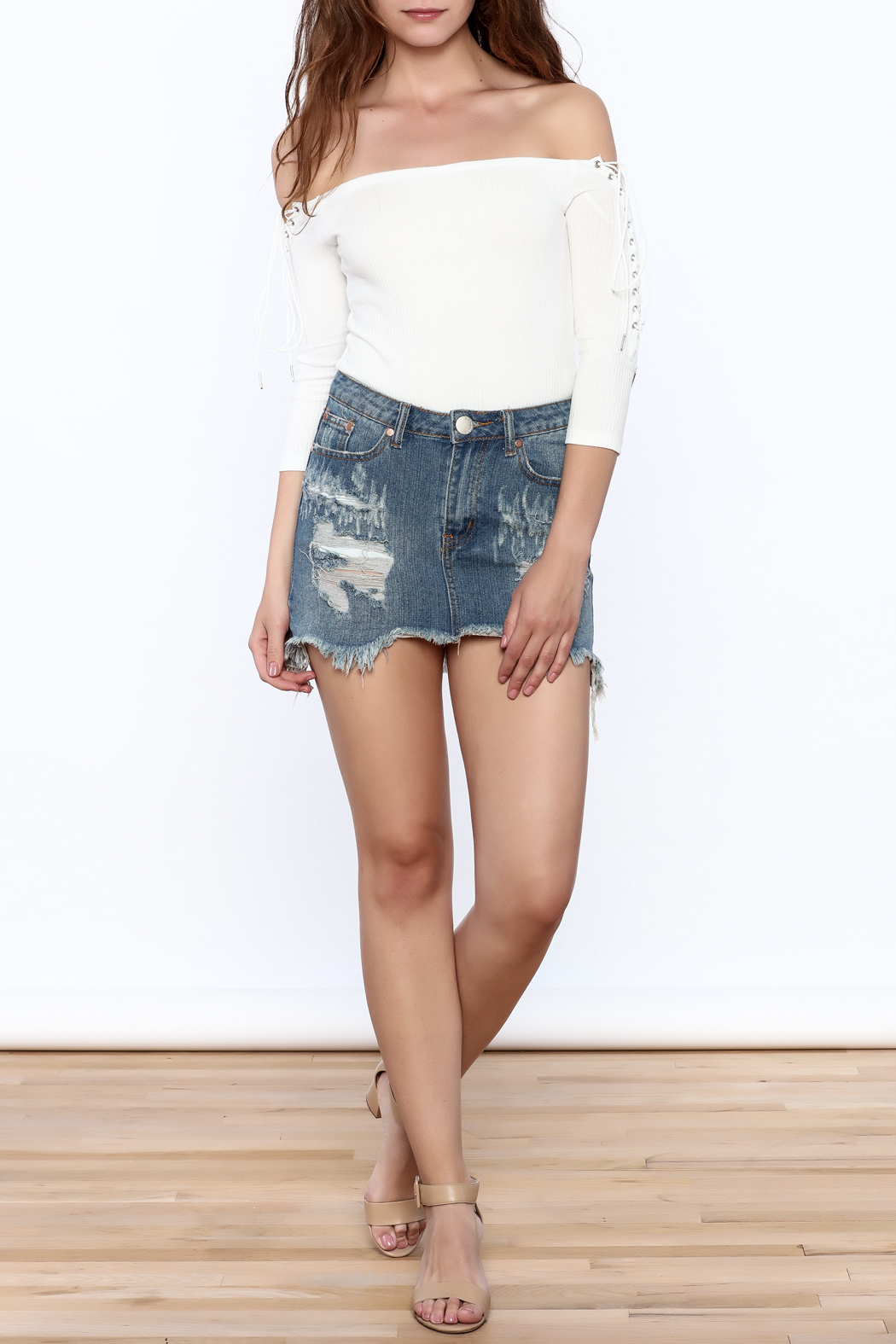 Signature 8 Distressed Denim Mini Skirt - Front Full Image