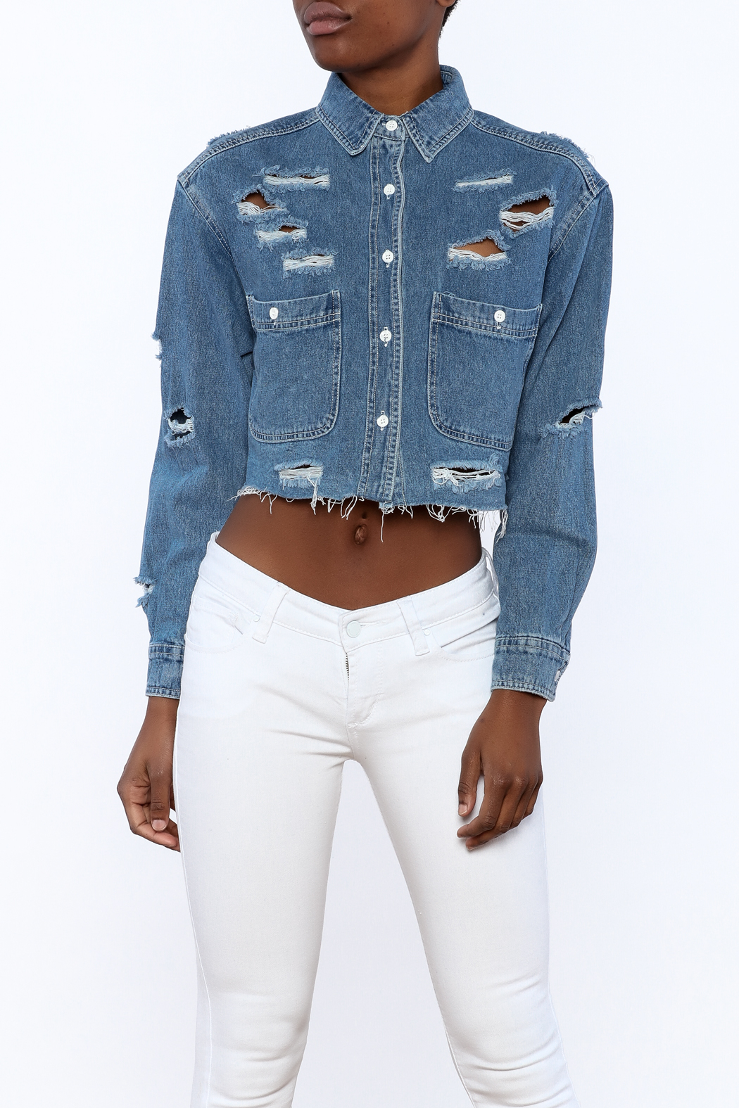 Signature 8 Distressed Crop Jacket - Main Image