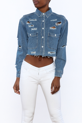 Shoptiques Product: Distressed Crop Jacket - main