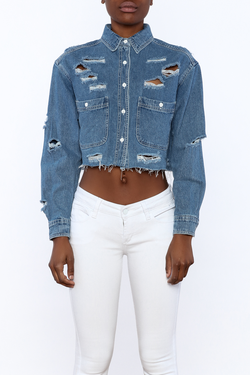 Signature 8 Distressed Crop Jacket - Side Cropped Image
