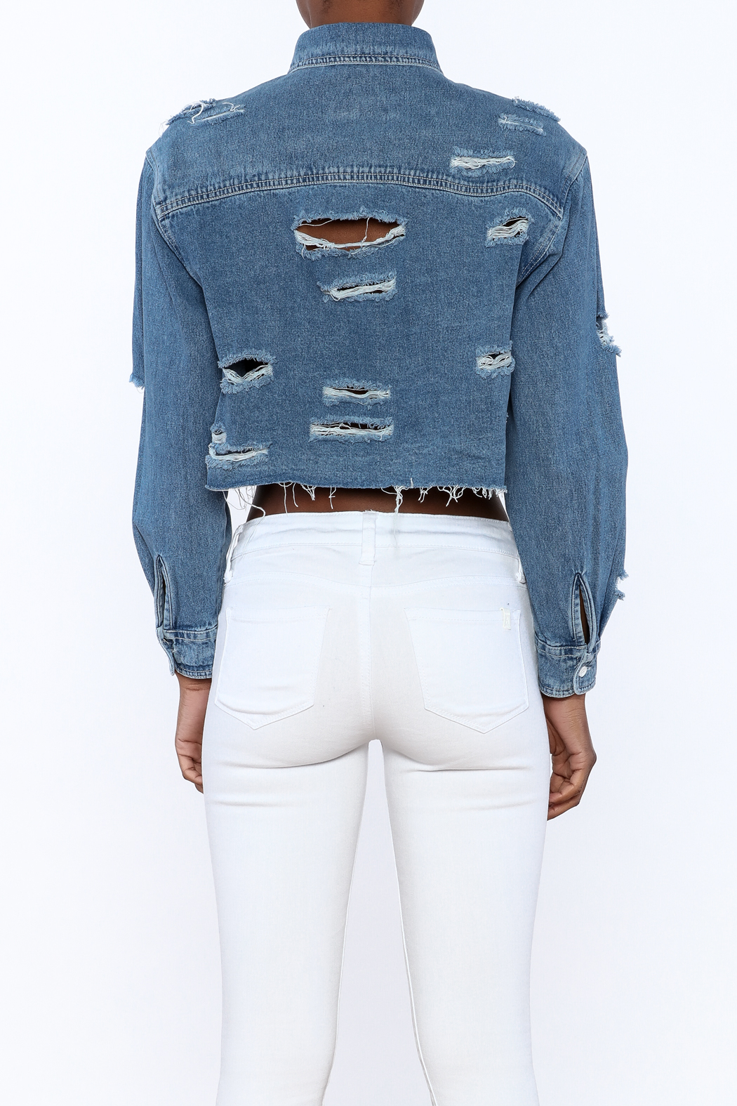 Signature 8 Distressed Crop Jacket - Back Cropped Image