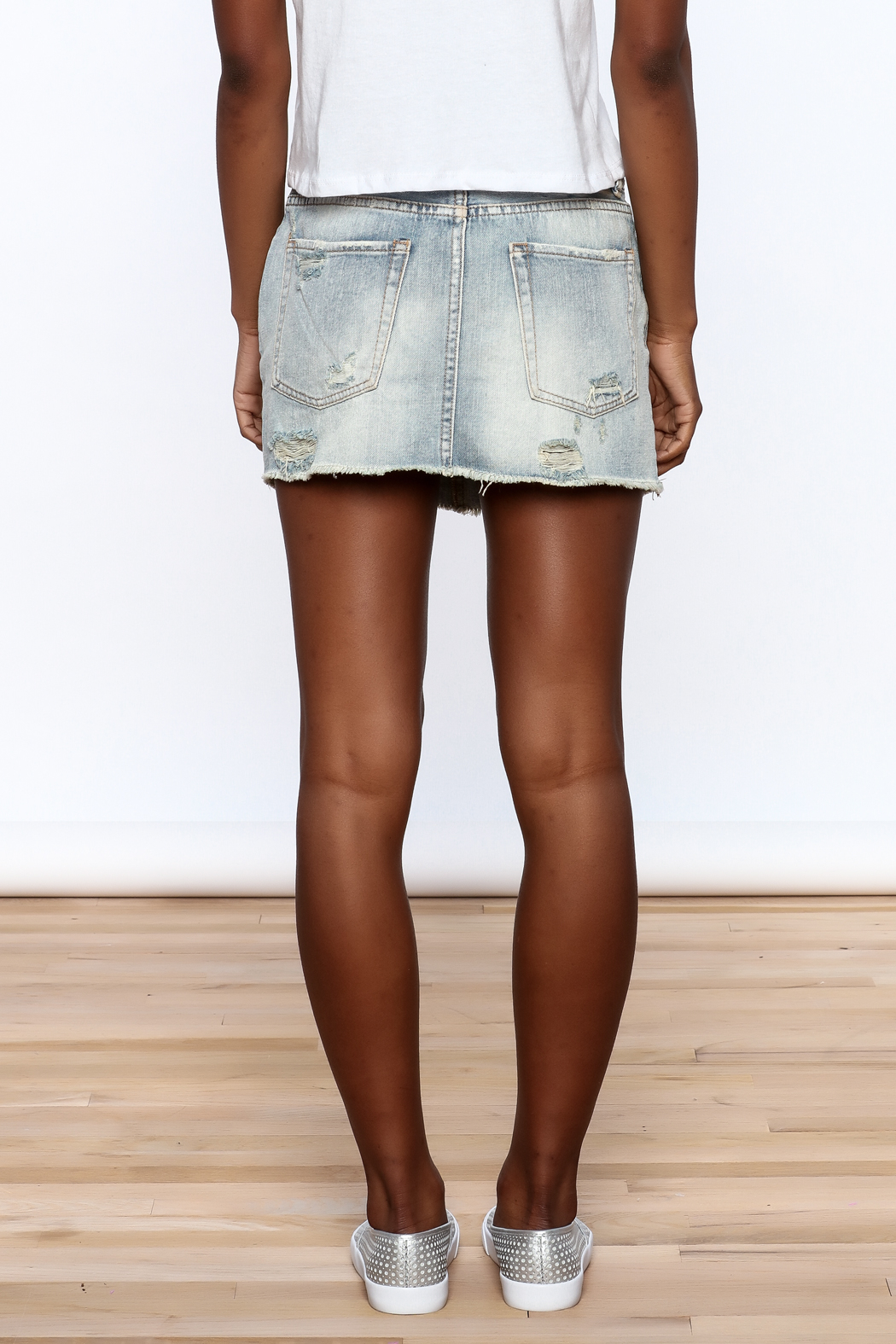 Signature 8 Distressed Denim Skirt - Back Cropped Image