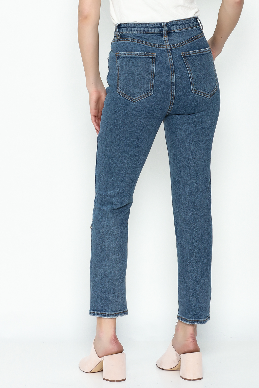 Signature 8 Embroidered Denim Jeans - Back Cropped Image