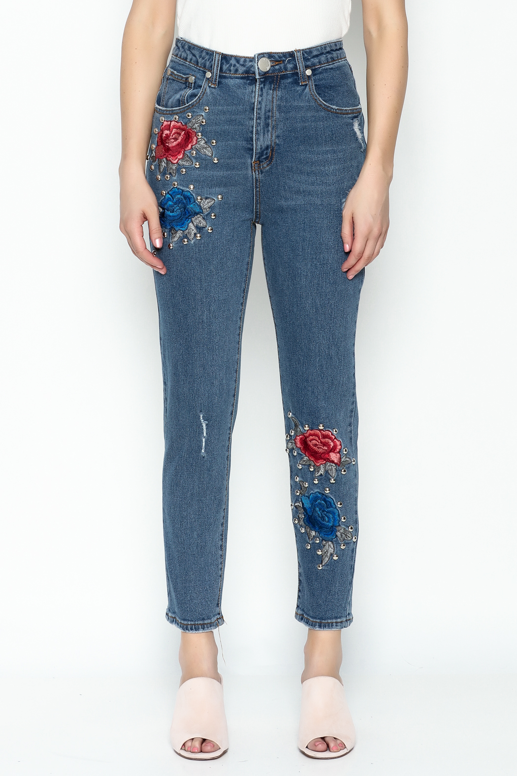Signature 8 Embroidered Denim Jeans - Front Full Image