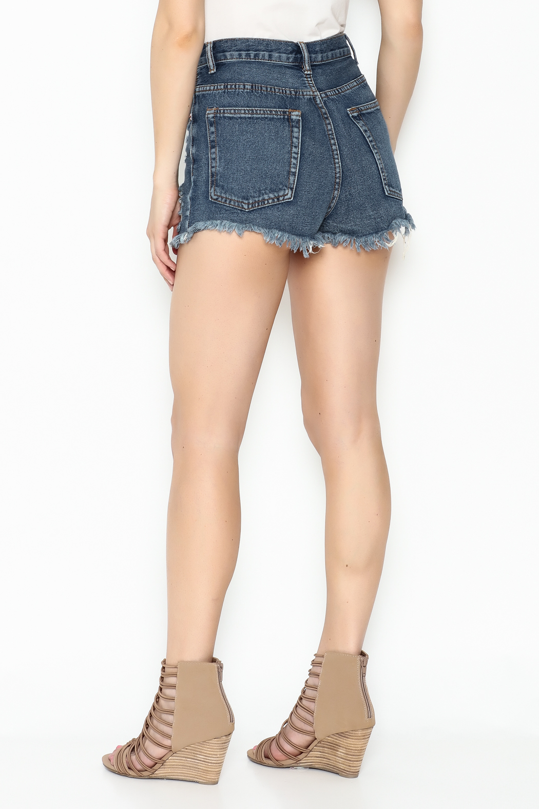 Signature 8 High Waisted Distressed Shorts - Back Cropped Image