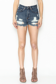 Signature 8 High Waisted Distressed Shorts - Front full body