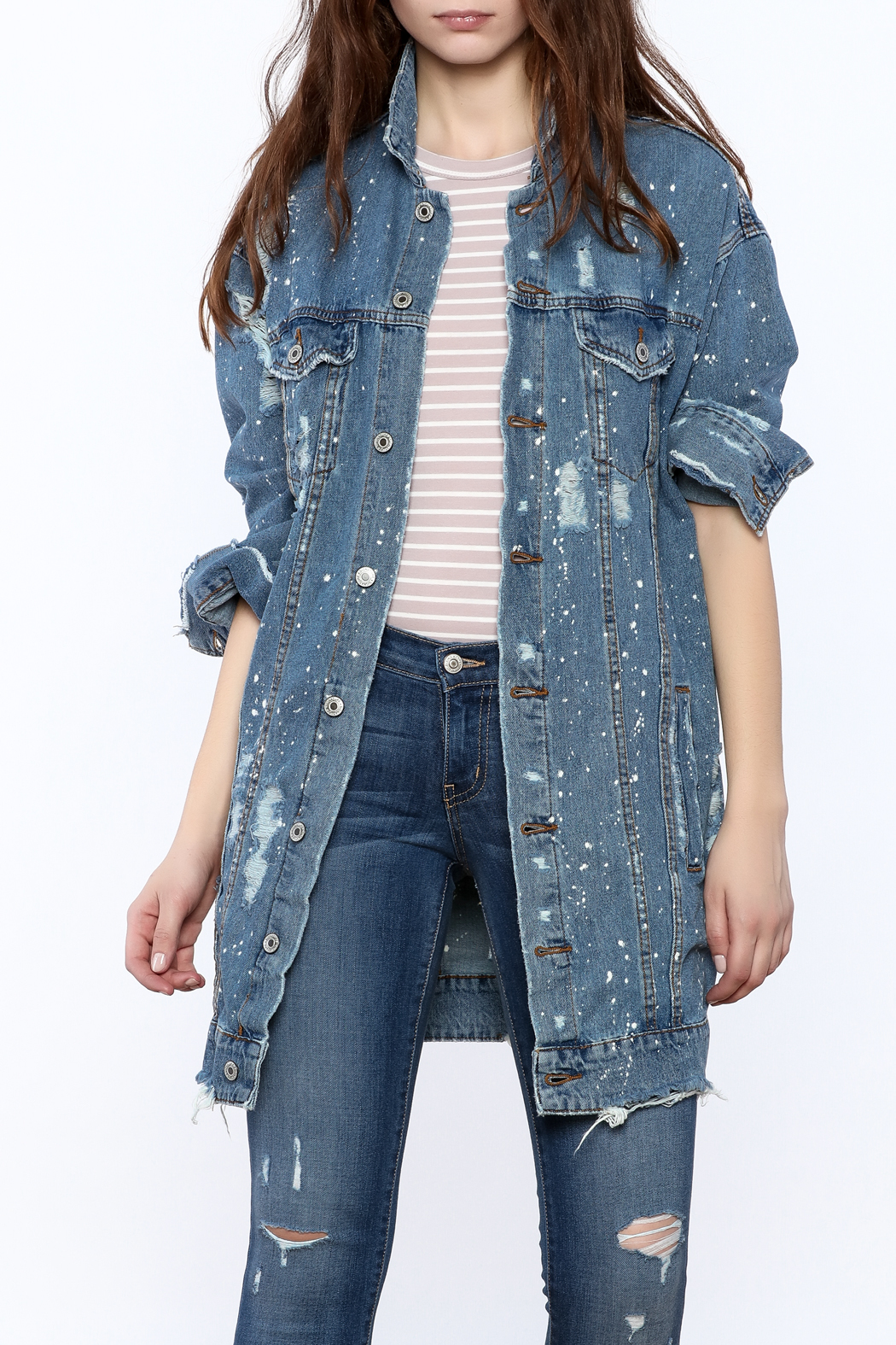 Signature 8 Long Denim Jacket From New York City By Angela I Am