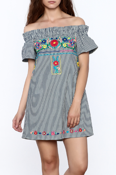 Shoptiques Product: Off Shoulder Embroidered Dress