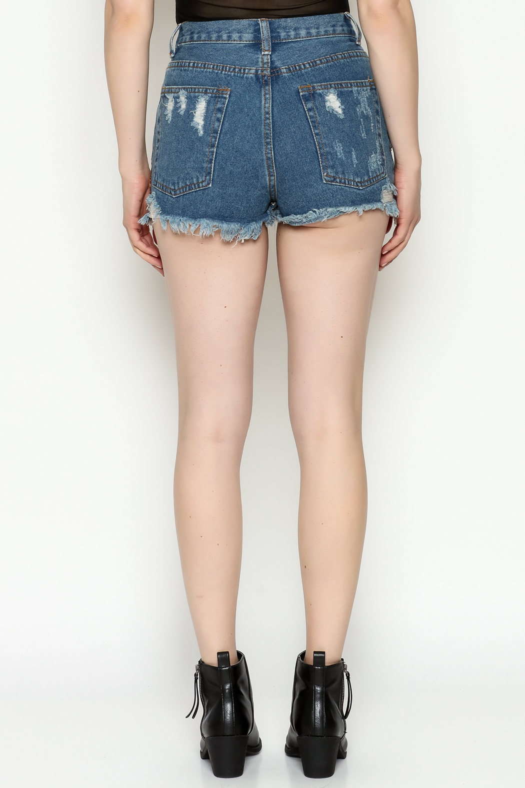 Signature 8 Star Patch Denim Shorts - Back Cropped Image