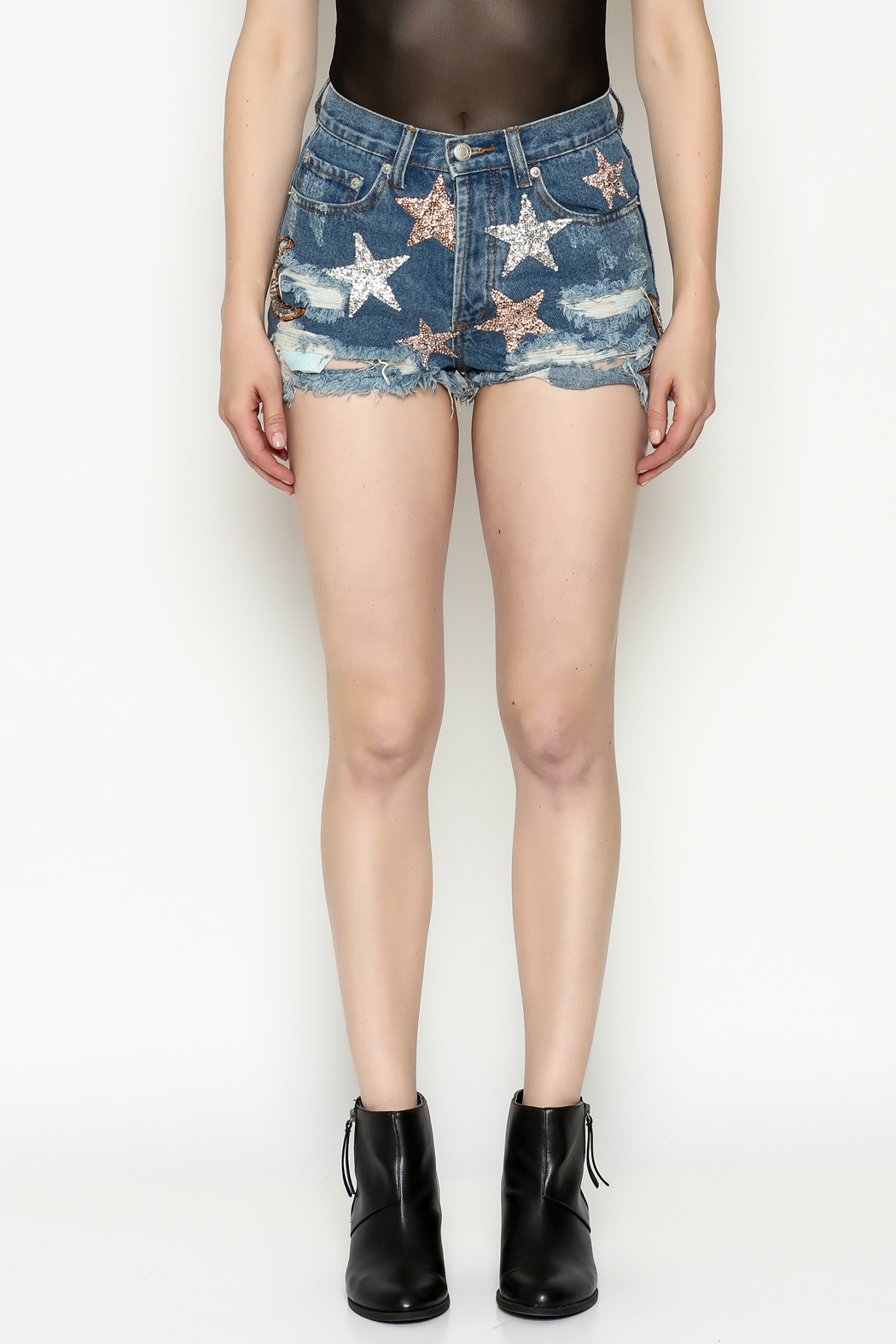 Signature 8 Star Patch Denim Shorts - Front Full Image