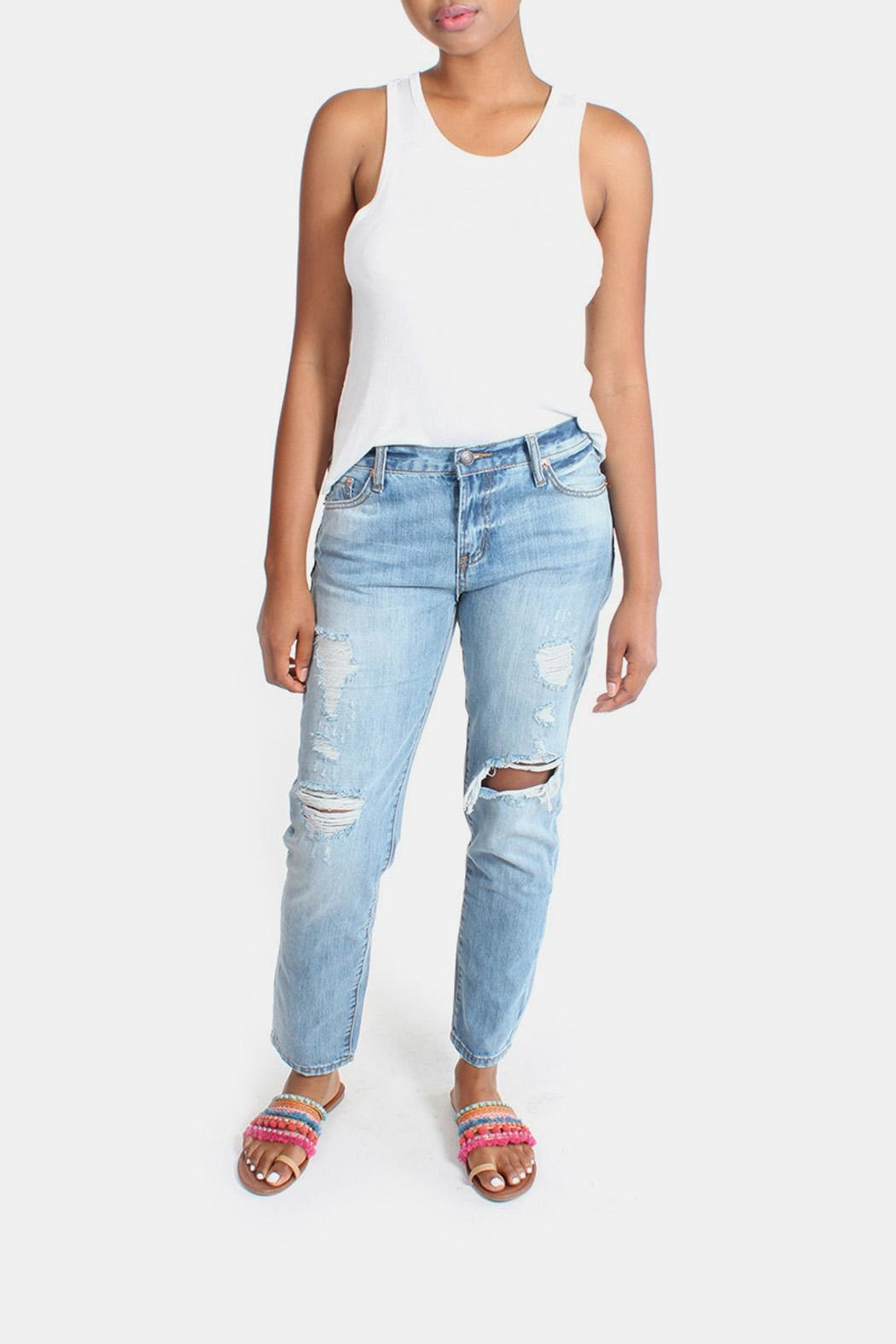 Signature 8 Barely Destroyed Boyfriend-Jeans - Front Full Image