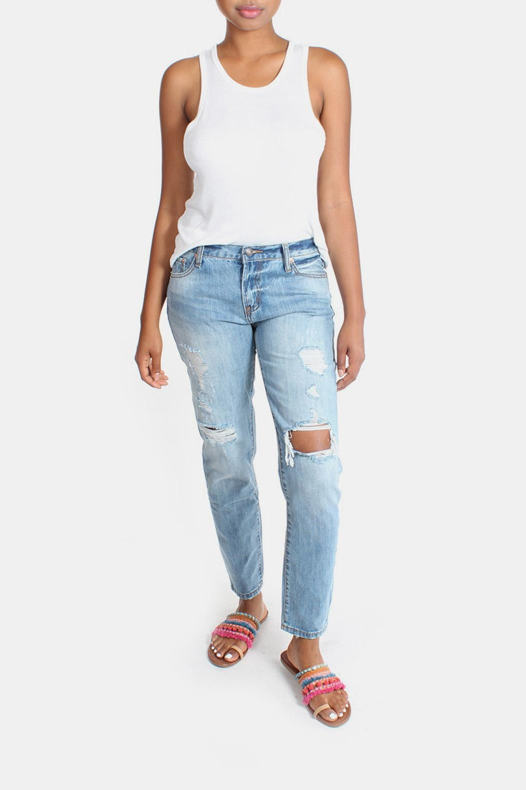Signature 8 Barely Destroyed Boyfriend-Jeans - Side Cropped Image