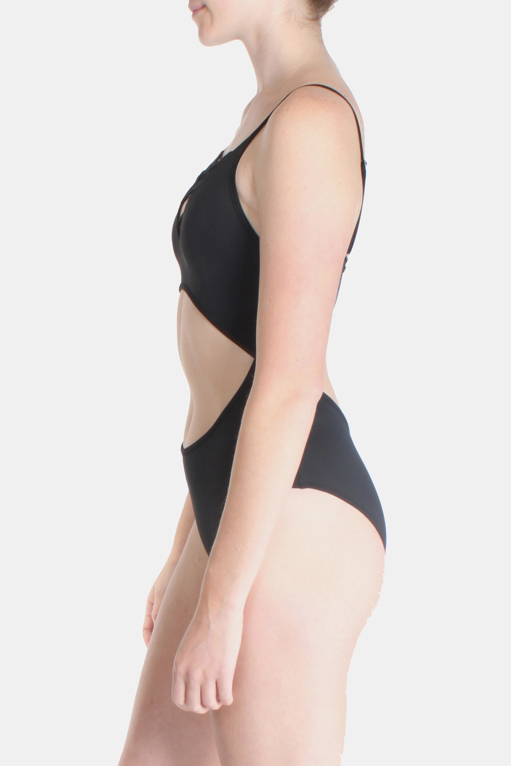 Signature 8 Black Cross Straps Swimsuit - Side Cropped Image