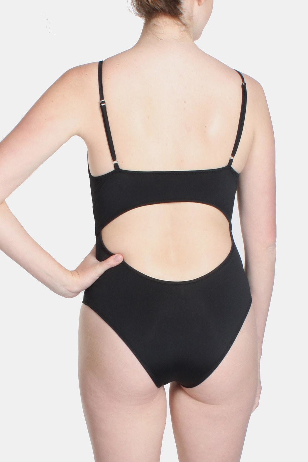 Signature 8 Black Cross Straps Swimsuit - Back Cropped Image