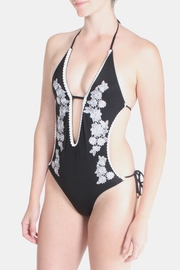 Signature 8 Black Floral Embroidered Swimsuit - Side cropped