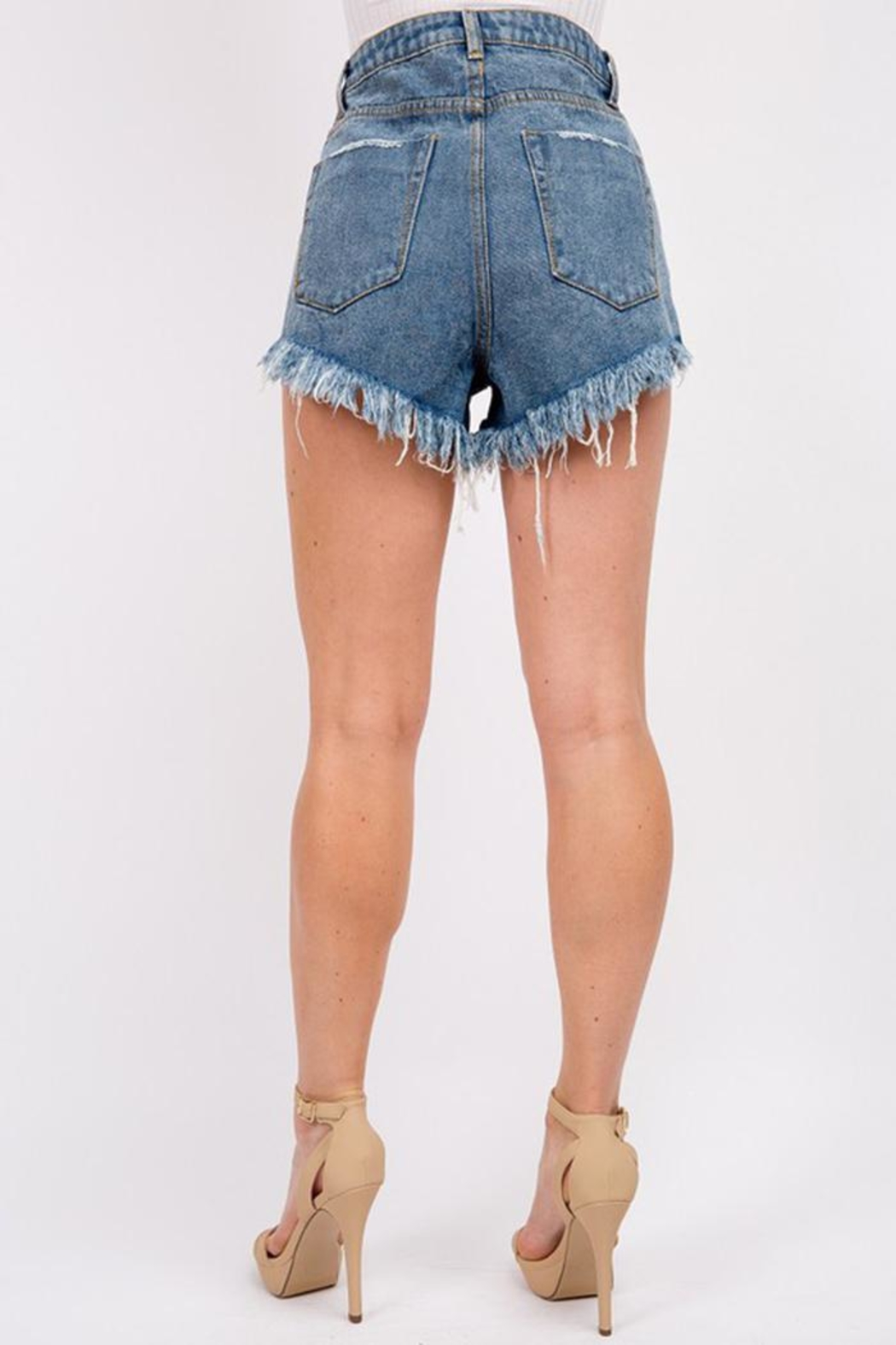 Signature 8 Button Up Denim Shorts - Front Full Image