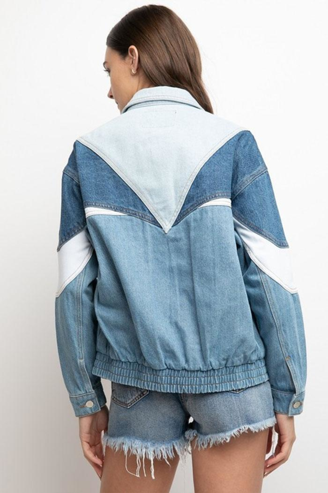 Signature 8 Color-Block Denim Jacket - Back Cropped Image