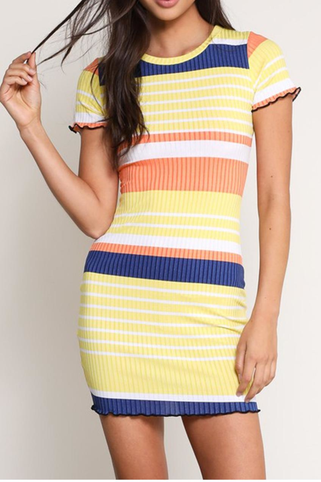 Signature 8 Colored Stripe Dress - Front Cropped Image