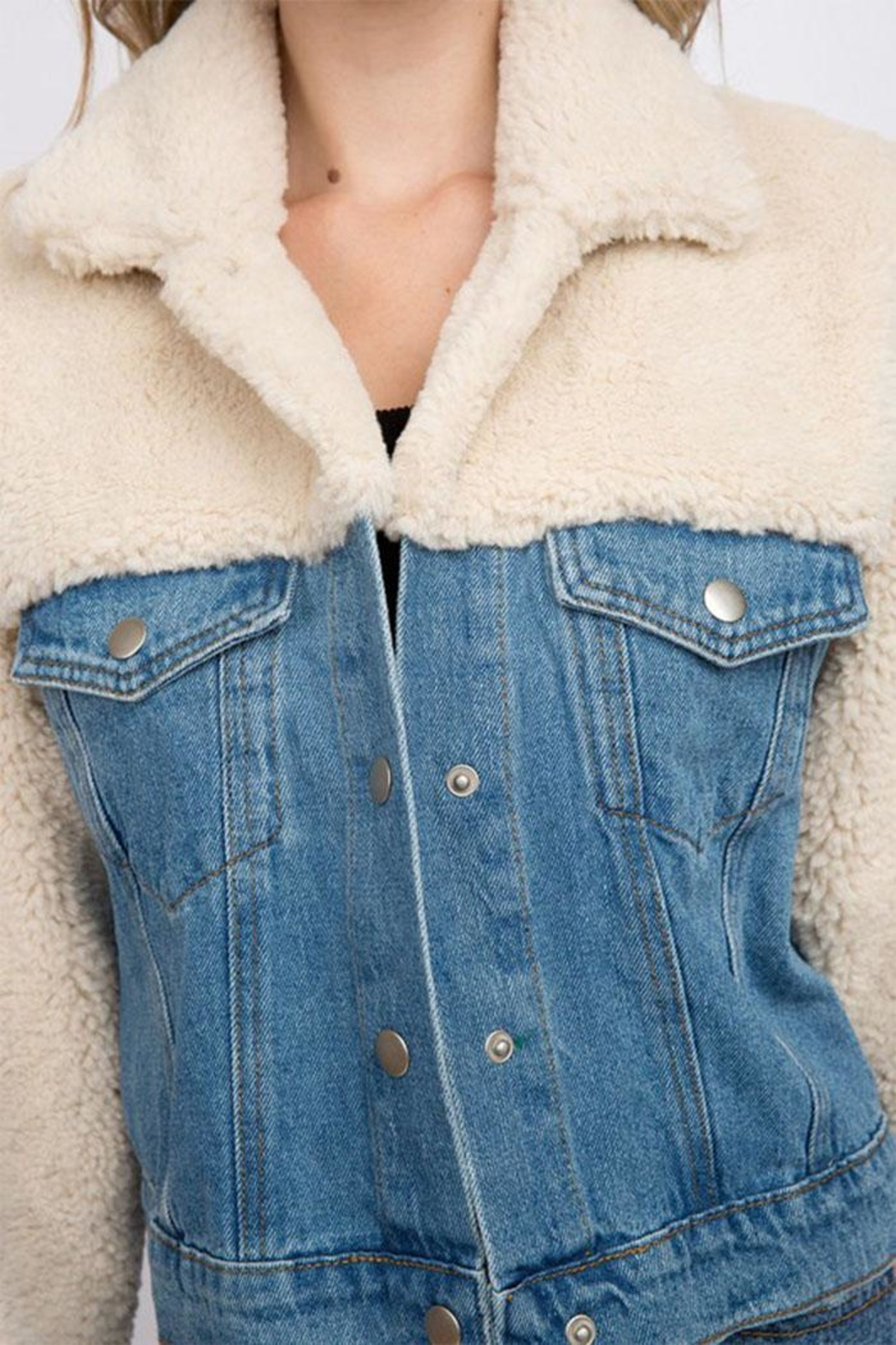 Signature 8 Denim Teddy Jacket - Back Cropped Image