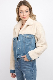 Signature 8 Denim Teddy Jacket - Front full body