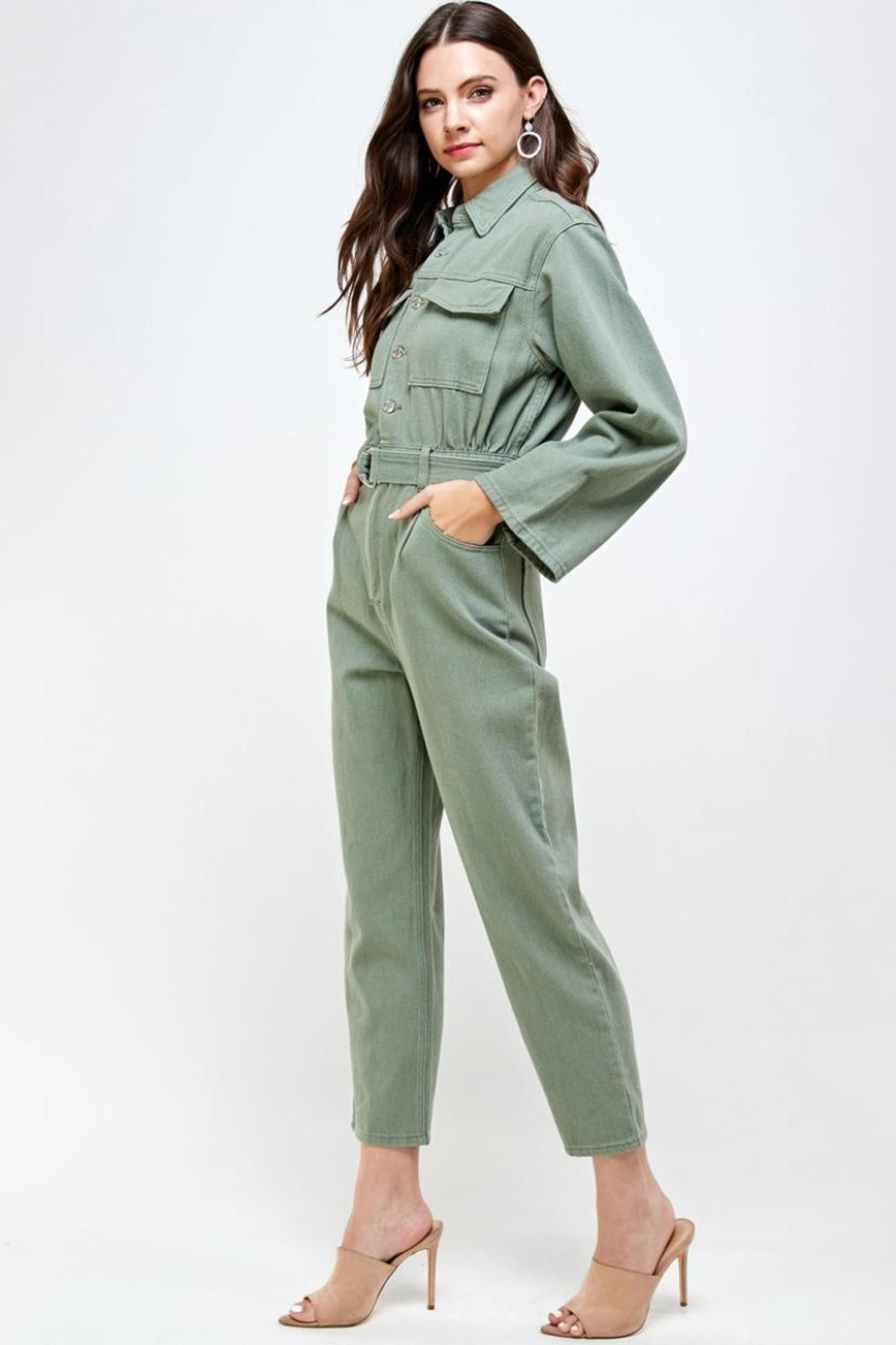 Signature 8 Denim Utility Jumpsuit - Side Cropped Image