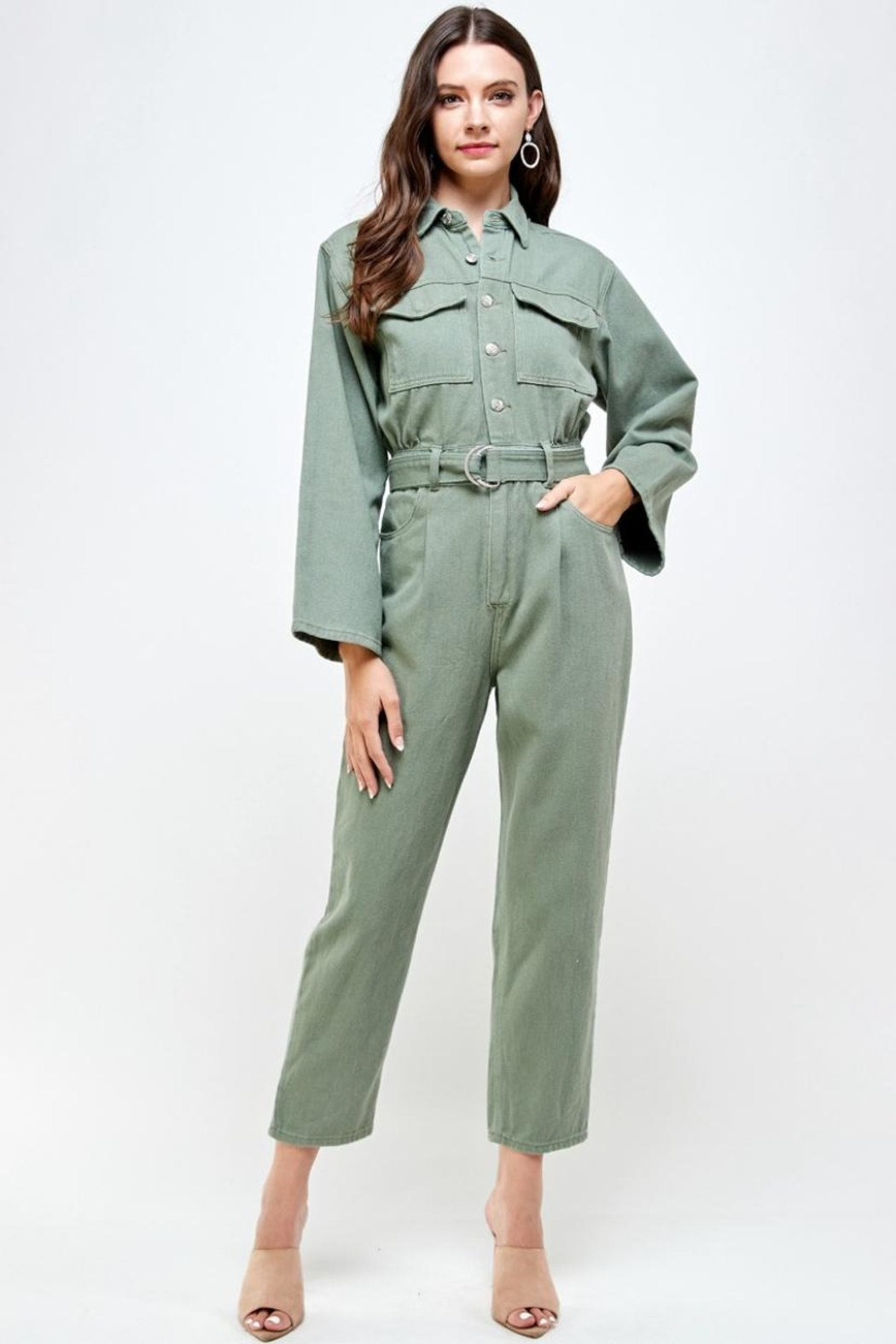 Signature 8 Denim Utility Jumpsuit - Front Full Image