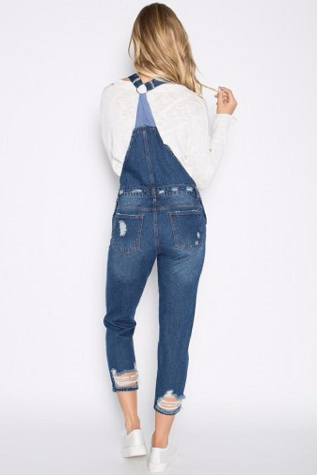 Signature 8 Distressed Denim Overalls - Side Cropped Image