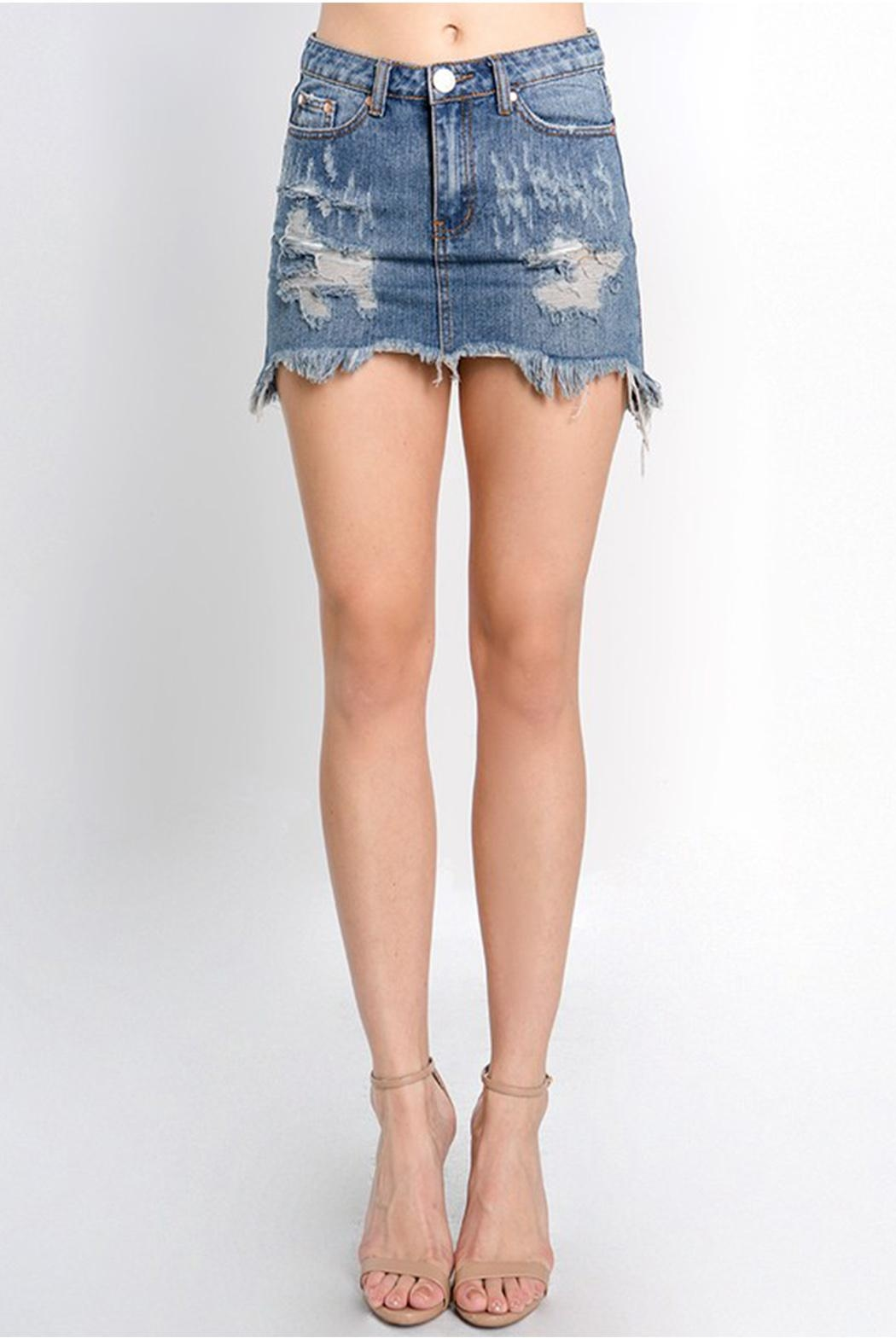 Signature 8 Distressed Denim Skirt - Main Image