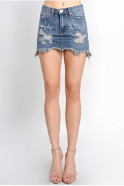 Signature 8 Distressed Denim Skirt - Front cropped