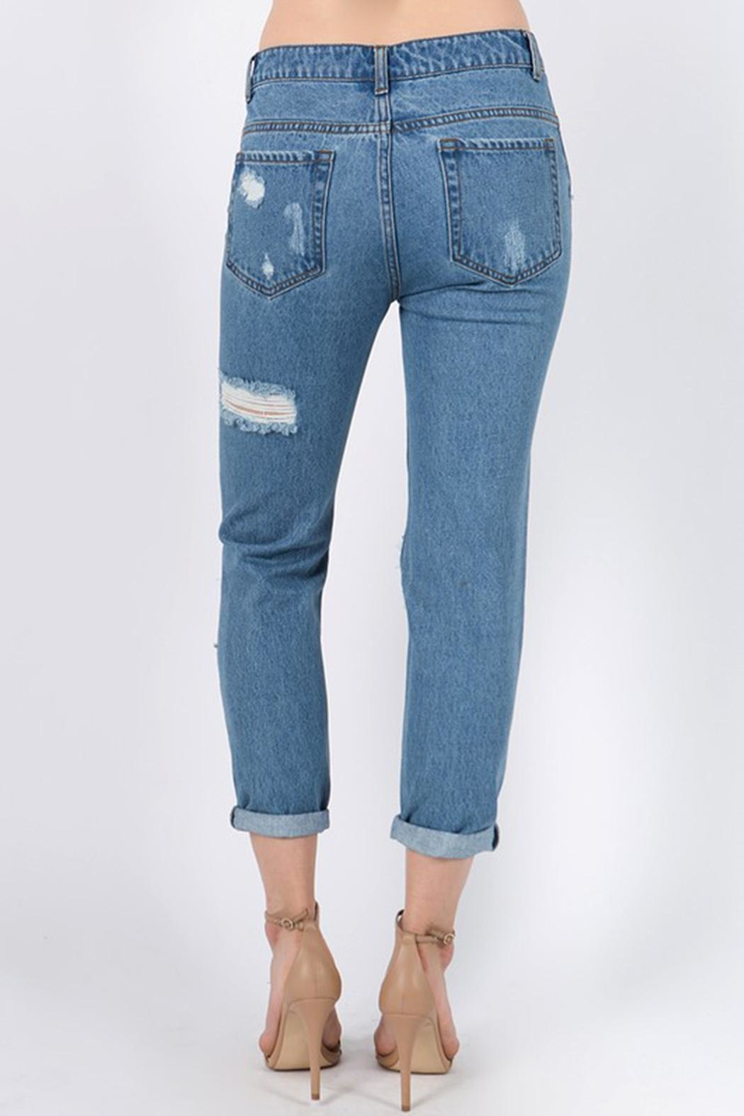 Signature 8 Distressed Jeans - Side Cropped Image