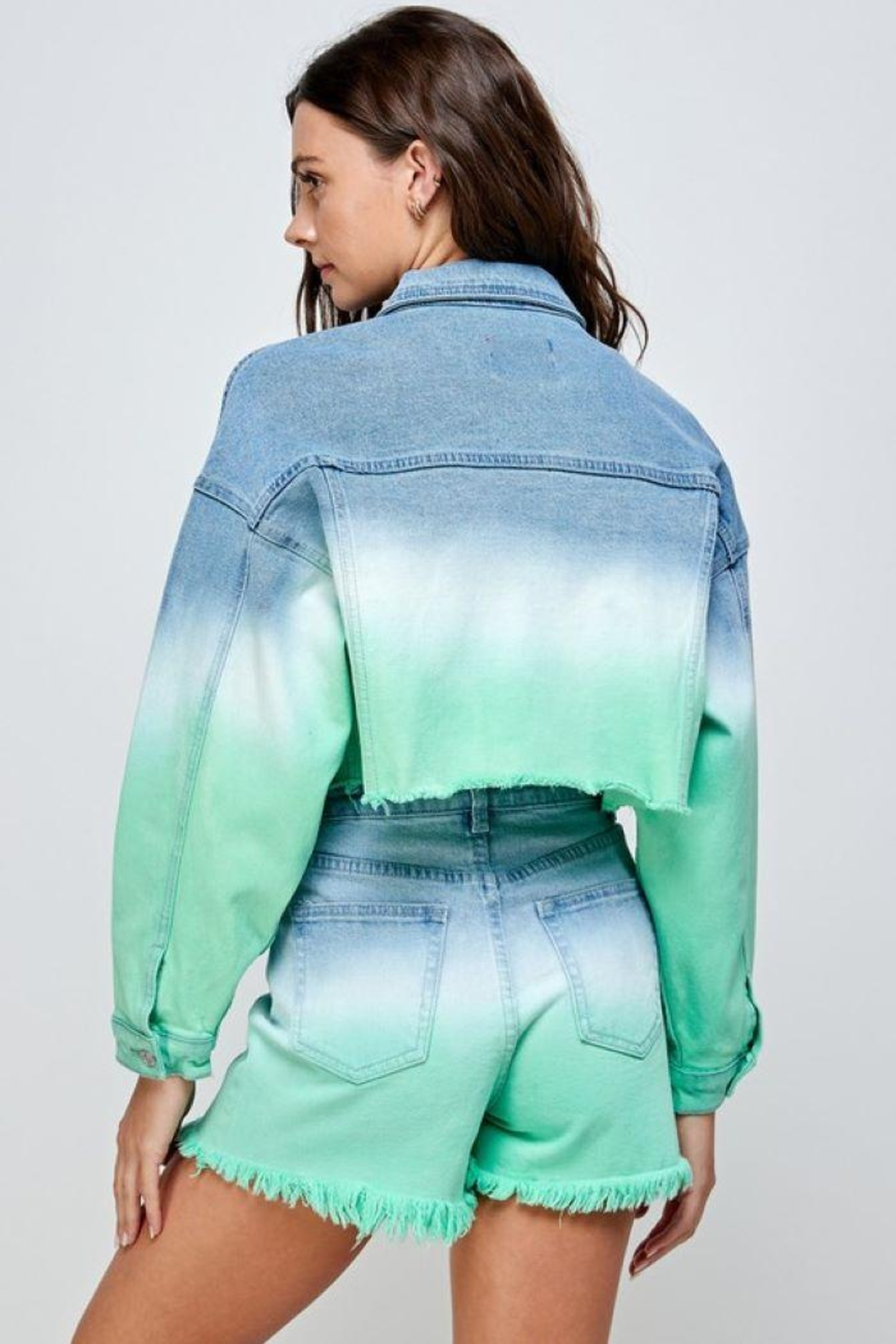 Signature 8 Mint Ombre Denim Jacket - Side Cropped Image