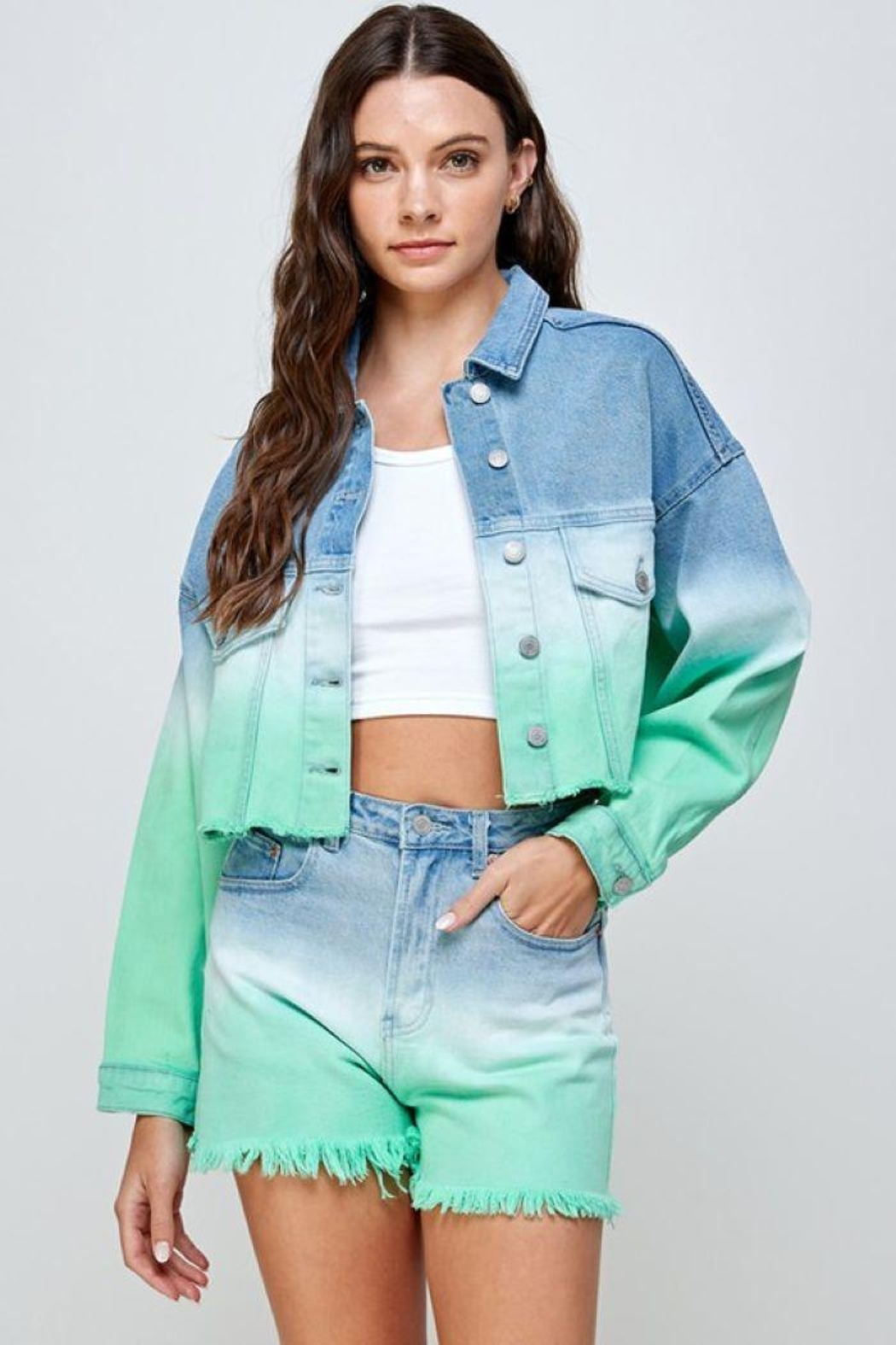 Signature 8 Mint Ombre Denim Jacket - Front Cropped Image